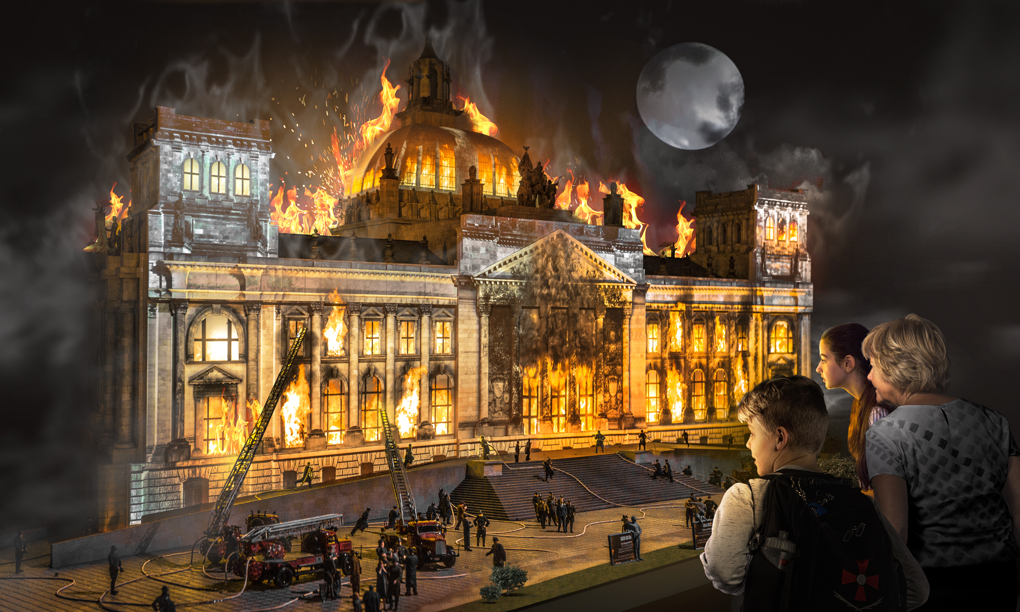 The Reichstag is in flames - visitors to Little BIG City can watch the extinguishing work